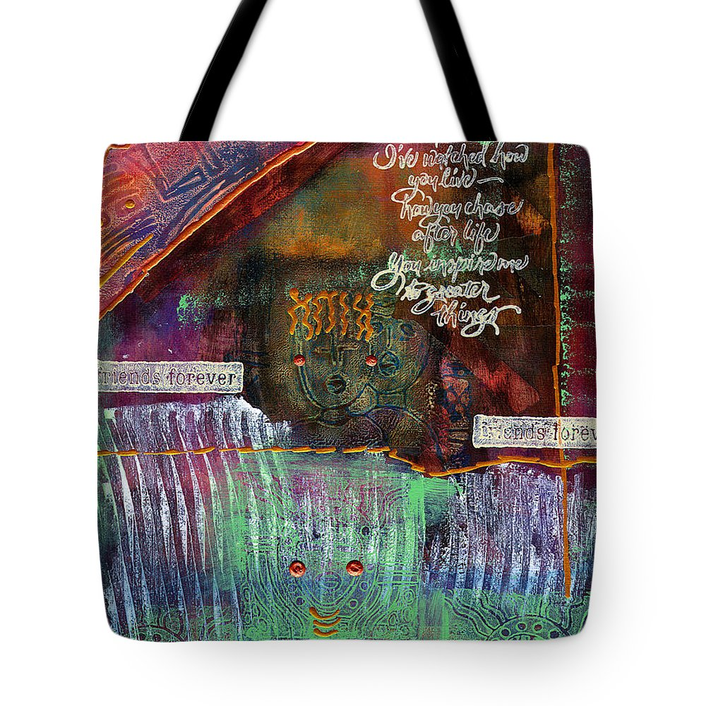 Friends Tote Bag featuring the mixed media Friends Forever by Angela L Walker