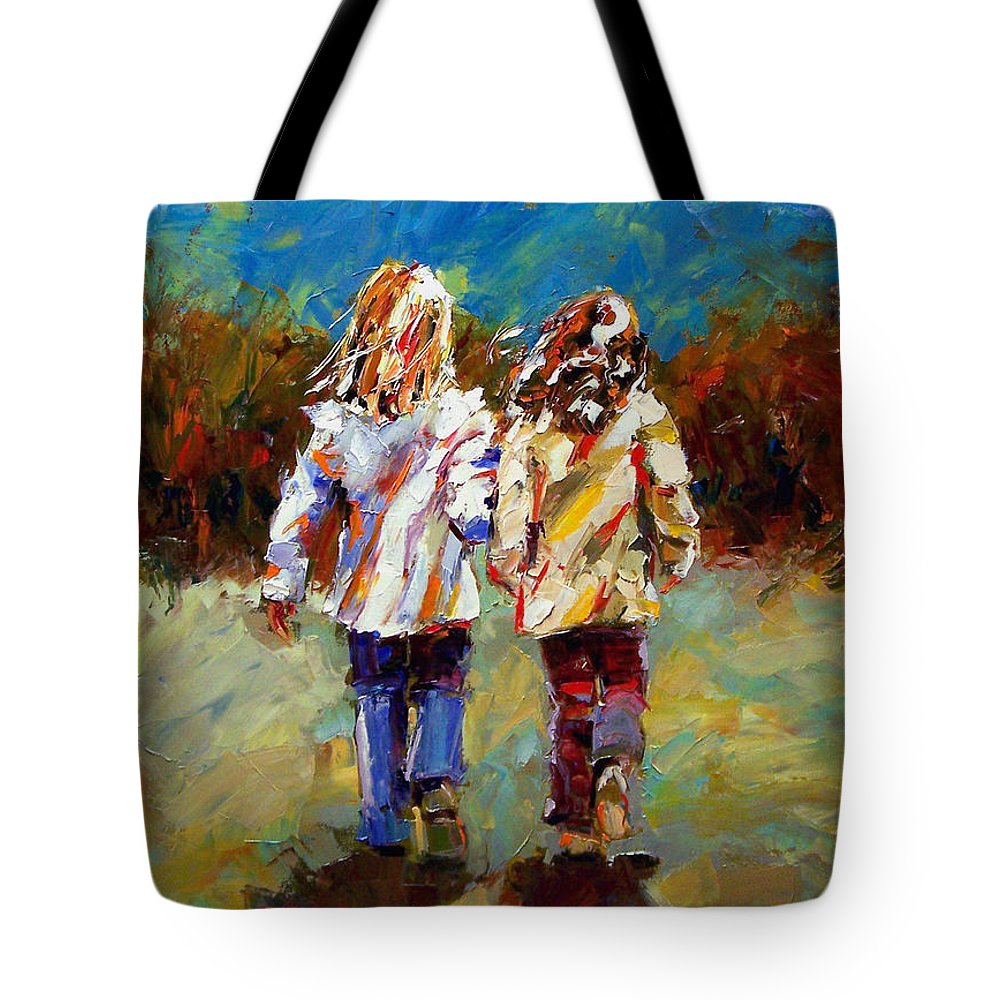 Girls Tote Bag featuring the painting Friends Forever by Debra Hurd