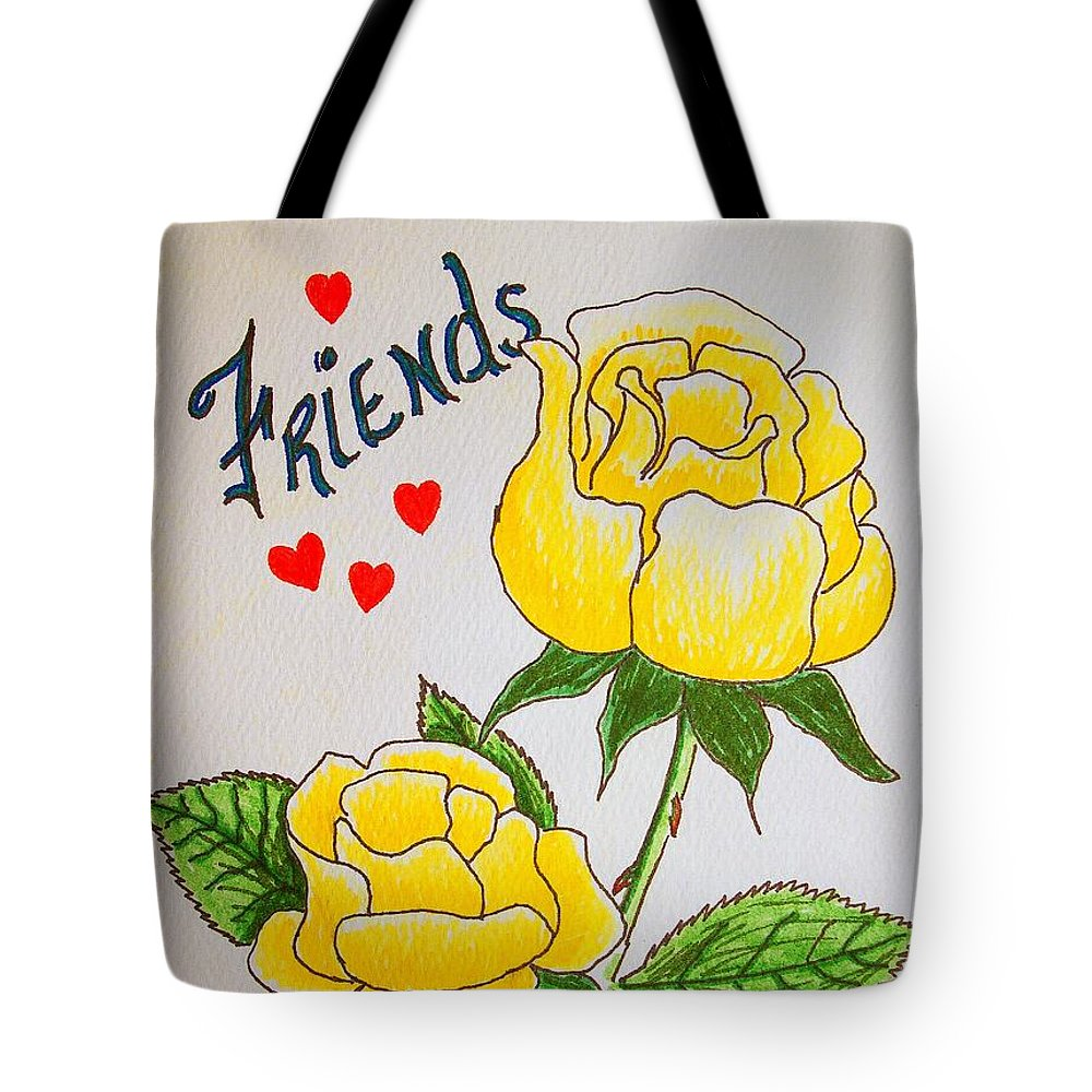 Stationery Card Tote Bag featuring the drawing Friends by J R Seymour