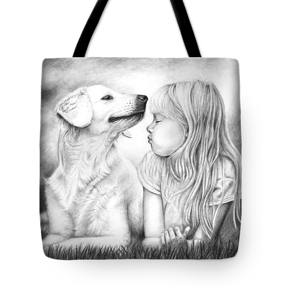 Dog Tote Bag featuring the drawing Friends by Nicole Zeug