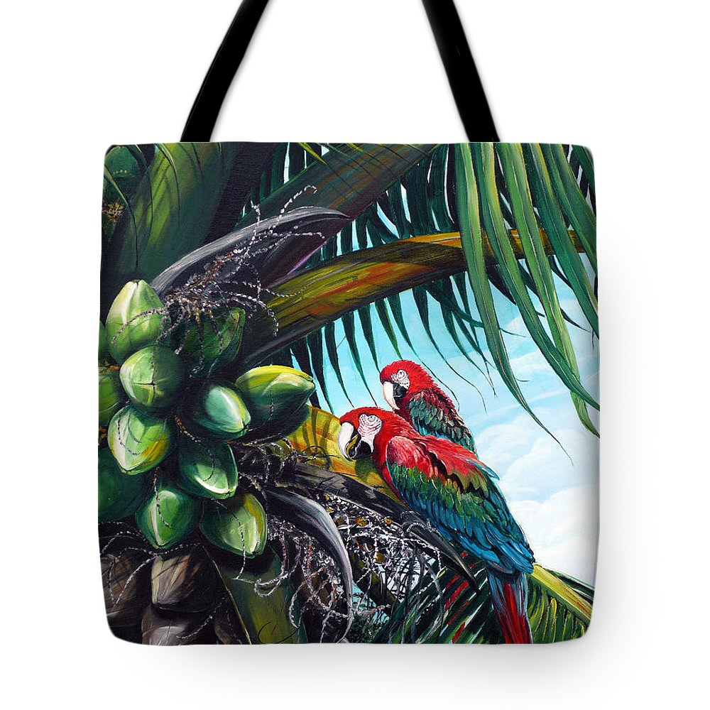 Macaws Bird Painting Coconut Palm Tree Painting Parrots Caribbean Painting Tropical Painting Coconuts Painting Palm Tree Greeting Card Painting Tote Bag featuring the painting Friends Of A Feather by Karin Dawn Kelshall- Best