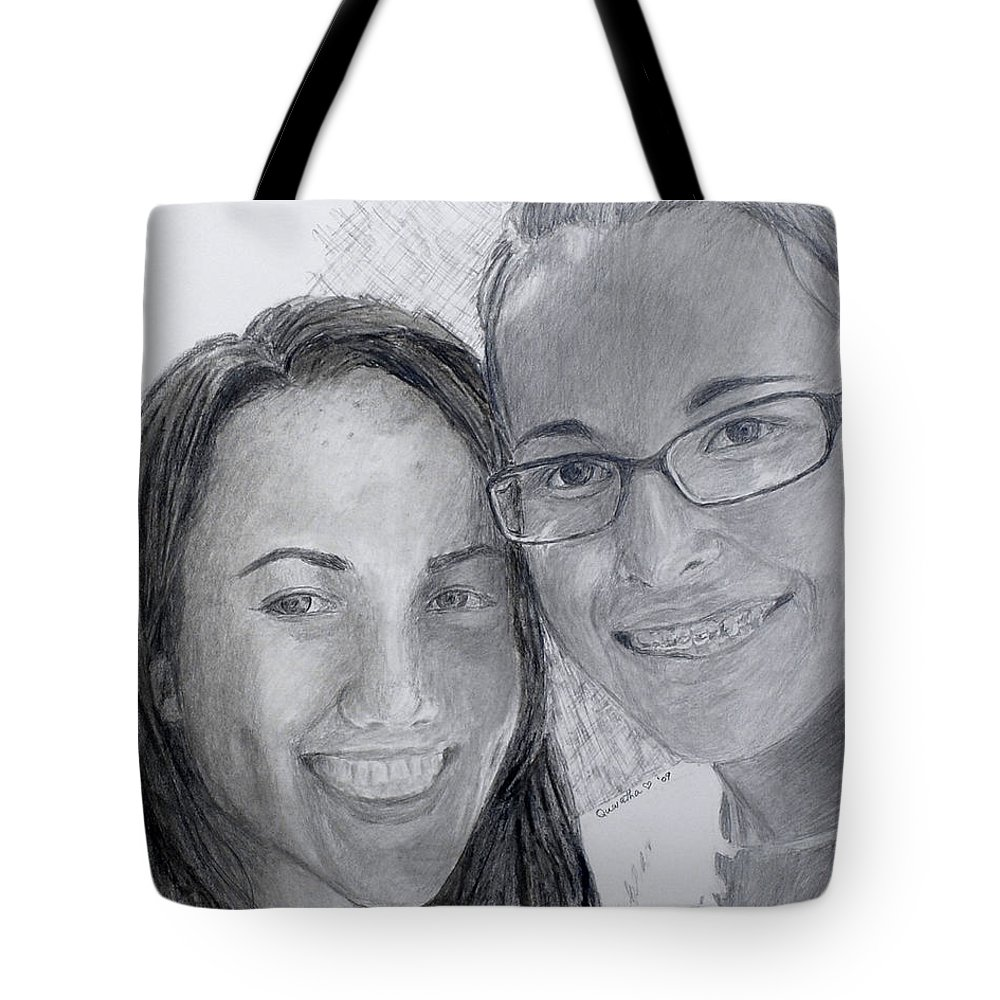 Graphite Tote Bag featuring the painting Friends by Quwatha Valentine