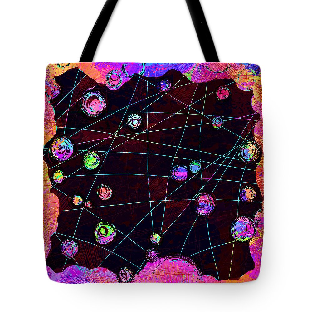 Abstract Tote Bag featuring the digital art Friends by William Russell Nowicki