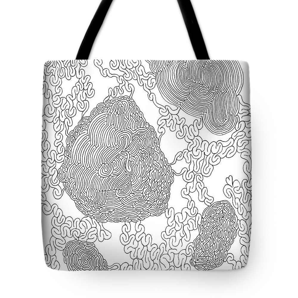 Mazes Tote Bag featuring the drawing Friends by Steven Natanson