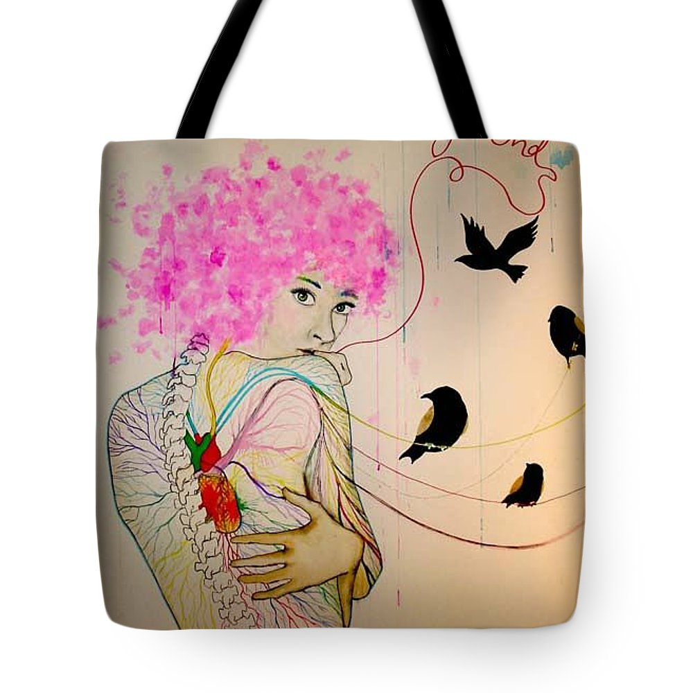 Bird Heart Veins Tote Bag featuring the drawing Friends With Birds by Freja Friborg