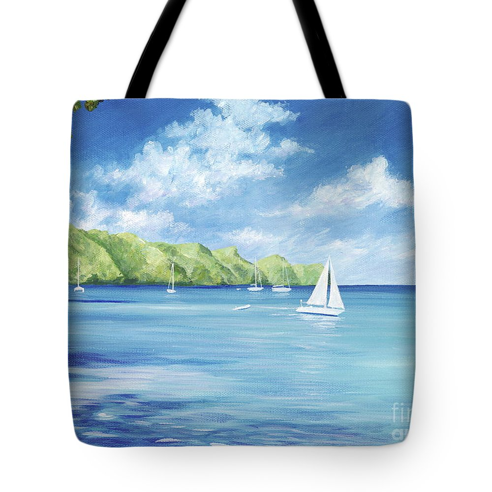 Nautical Seascape Tote Bag featuring the painting Friendship Bay by Danielle Perry