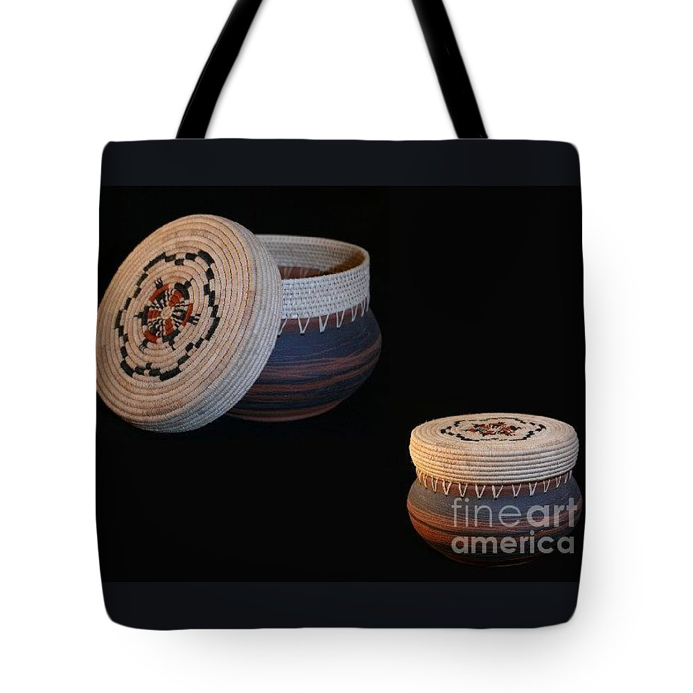 Basket Tote Bag featuring the mixed media Friendship Dance Clay Basket by Darlene Ryer