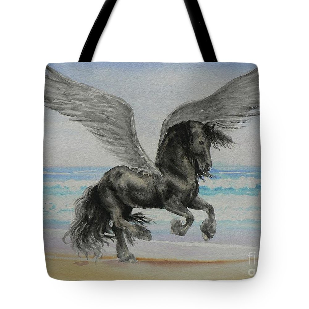 Friesian Tote Bag featuring the painting Friesian Pegasus by Louise Green