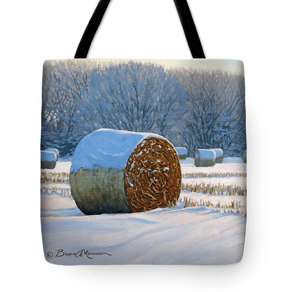Landscape Painting Tote Bag featuring the painting Frigid Morning Bales by Bruce Morrison