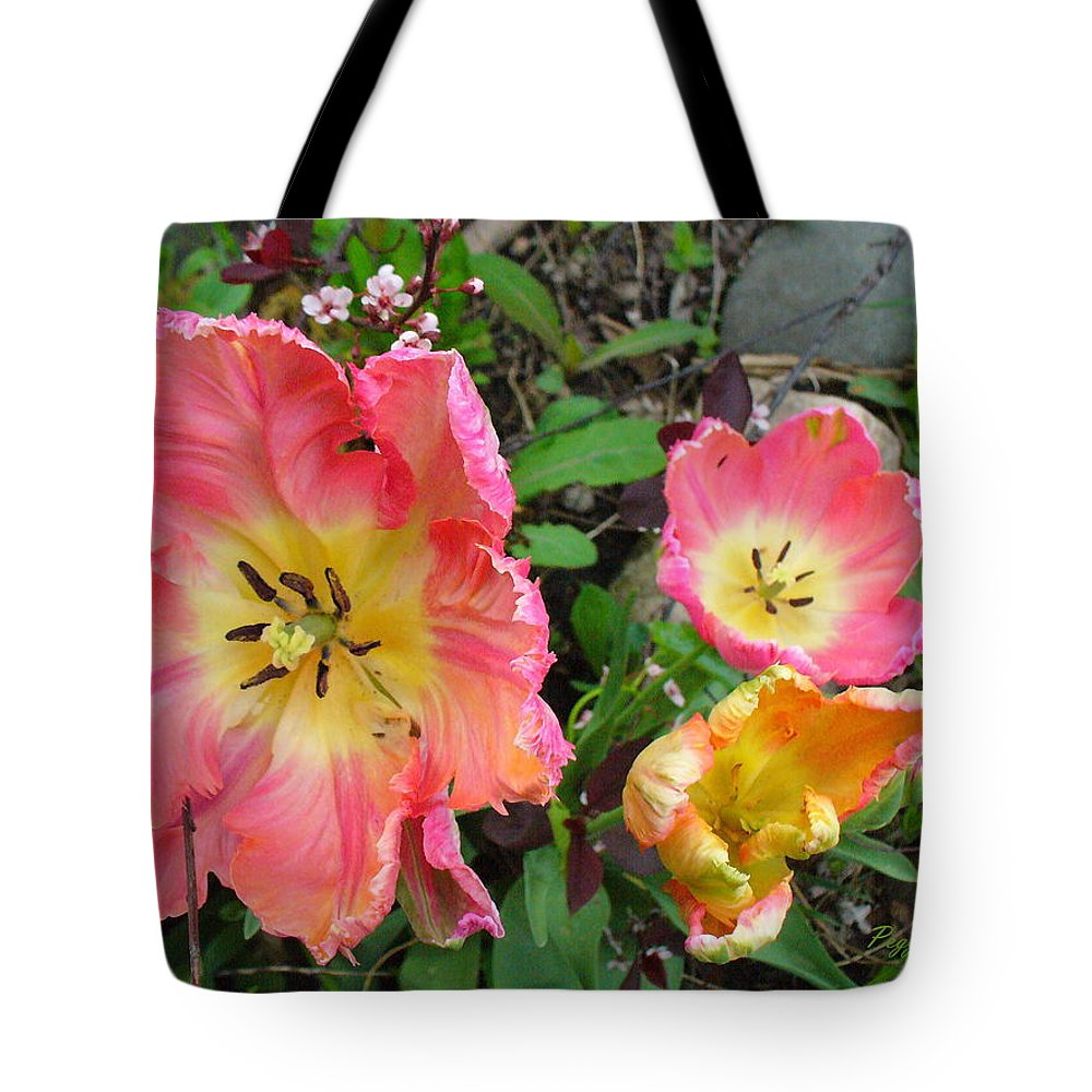Tulips Tote Bag featuring the photograph Fringed Tulips by Peggy King