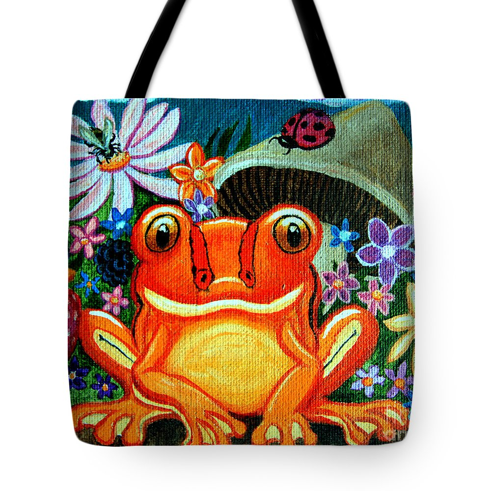 Frogs Tote Bag featuring the painting Frog And Flowers by Nick Gustafson