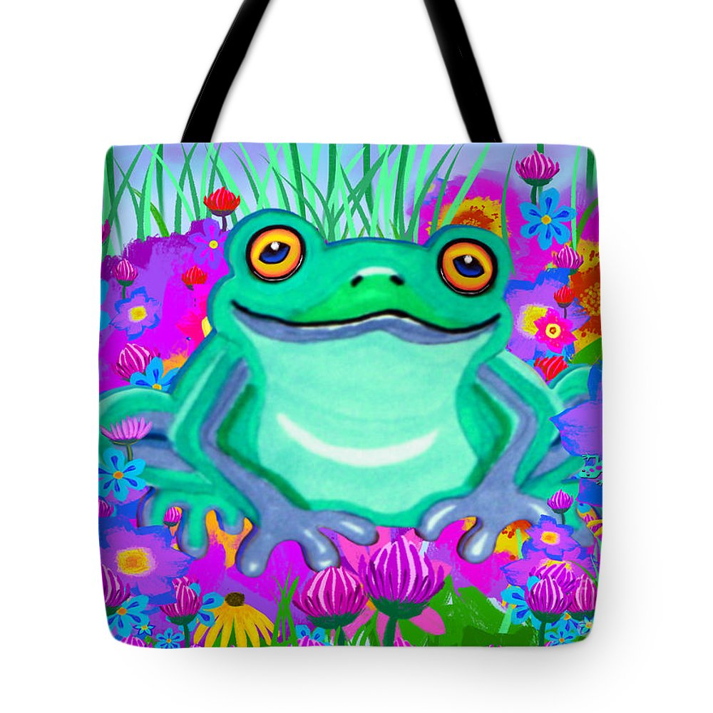 Frog Tote Bag featuring the painting Frog And Spring Flowers by Nick Gustafson