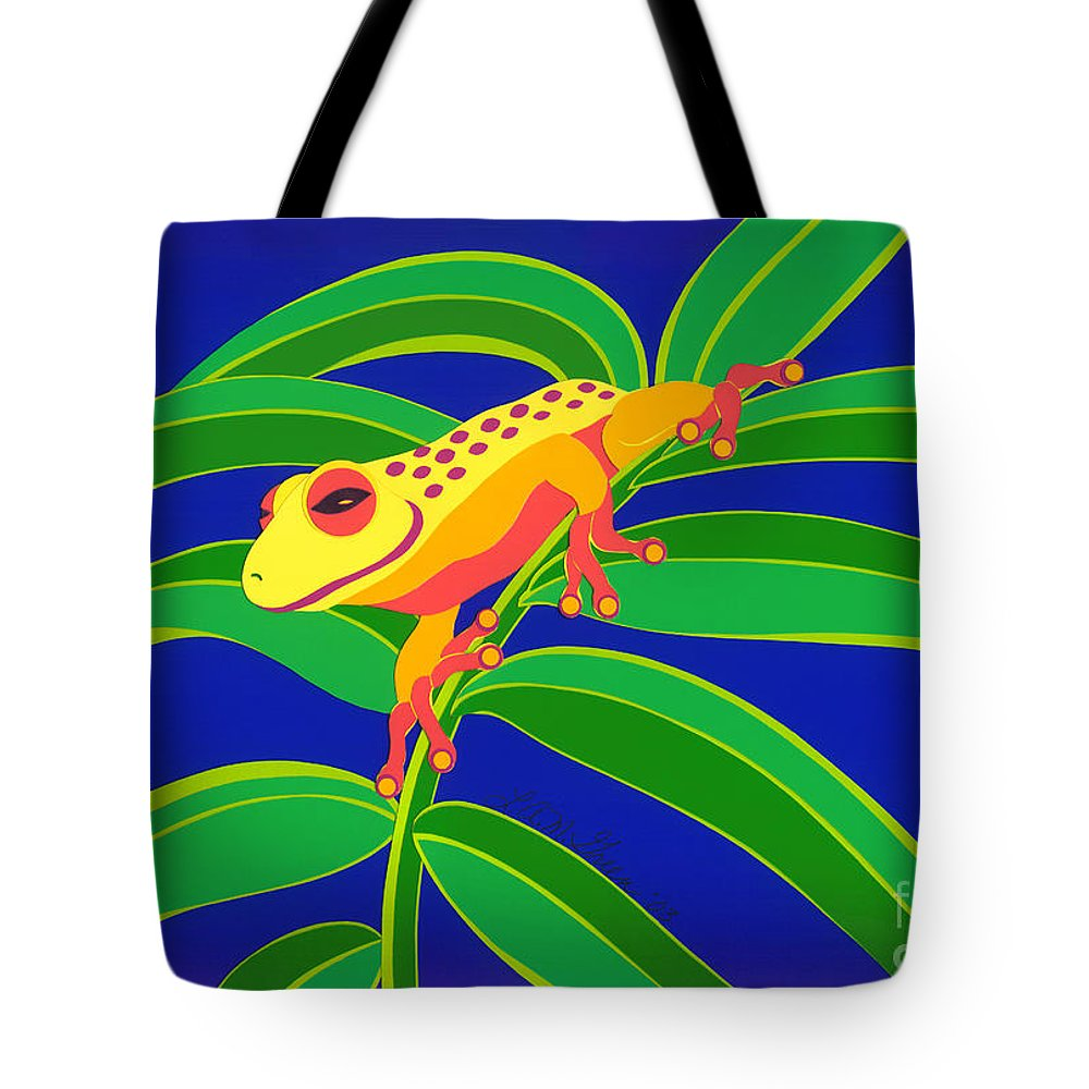 Nature Tote Bag featuring the drawing Frog On Branch by Lucyna A M Green