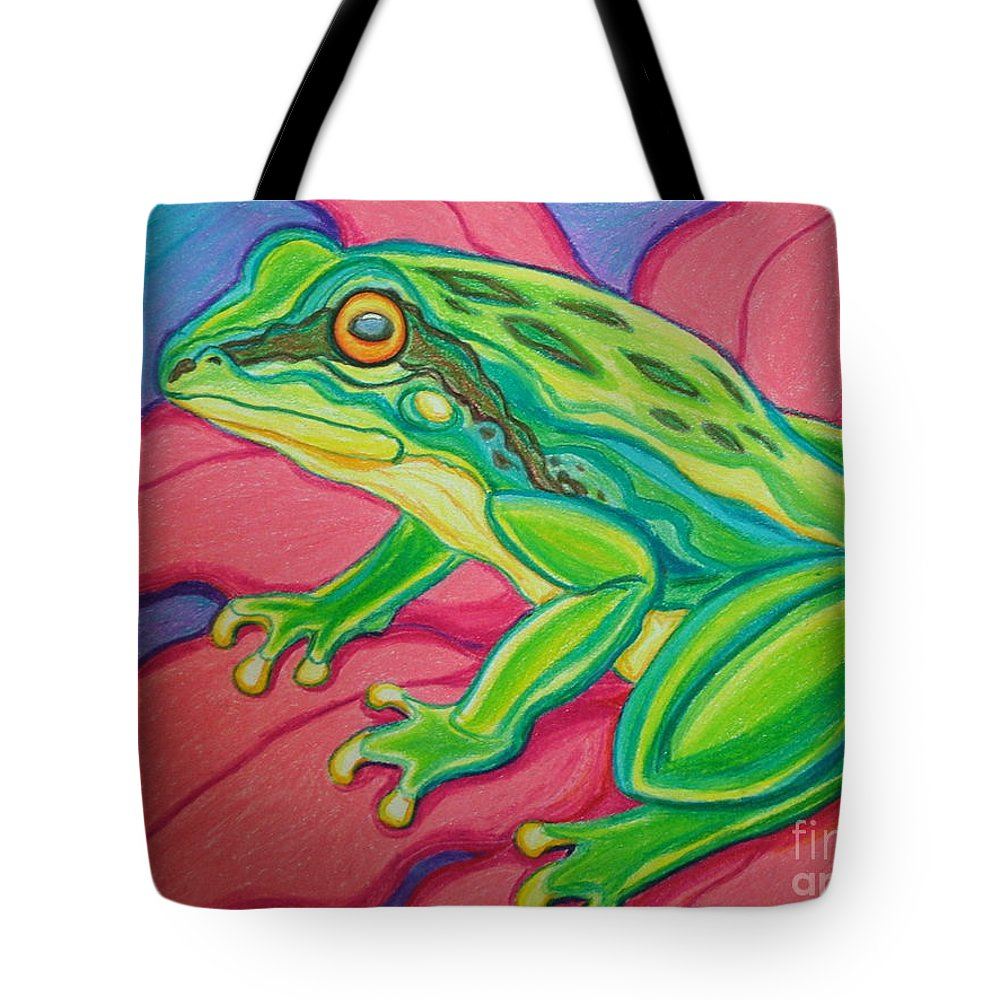 Frog Tote Bag featuring the drawing Frog On Flower by Nick Gustafson