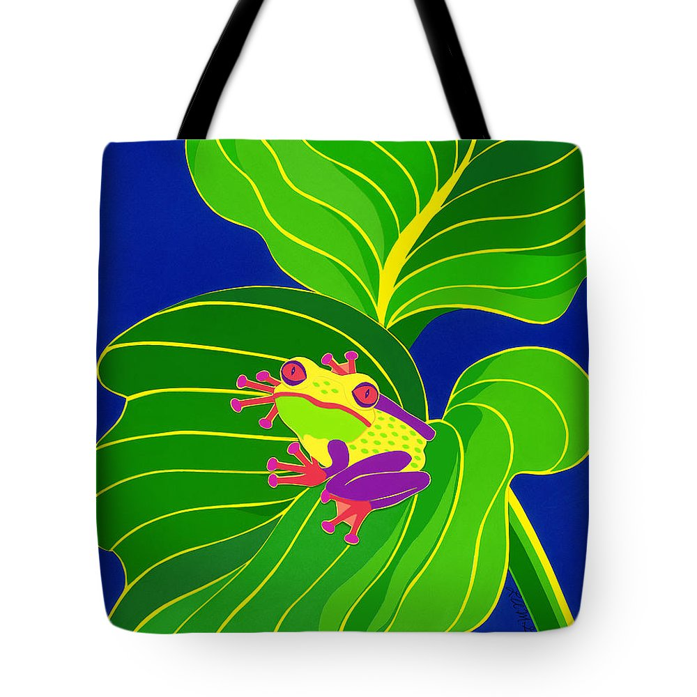 Nature Tote Bag featuring the drawing Frog On Leaf by Lucyna A M Green