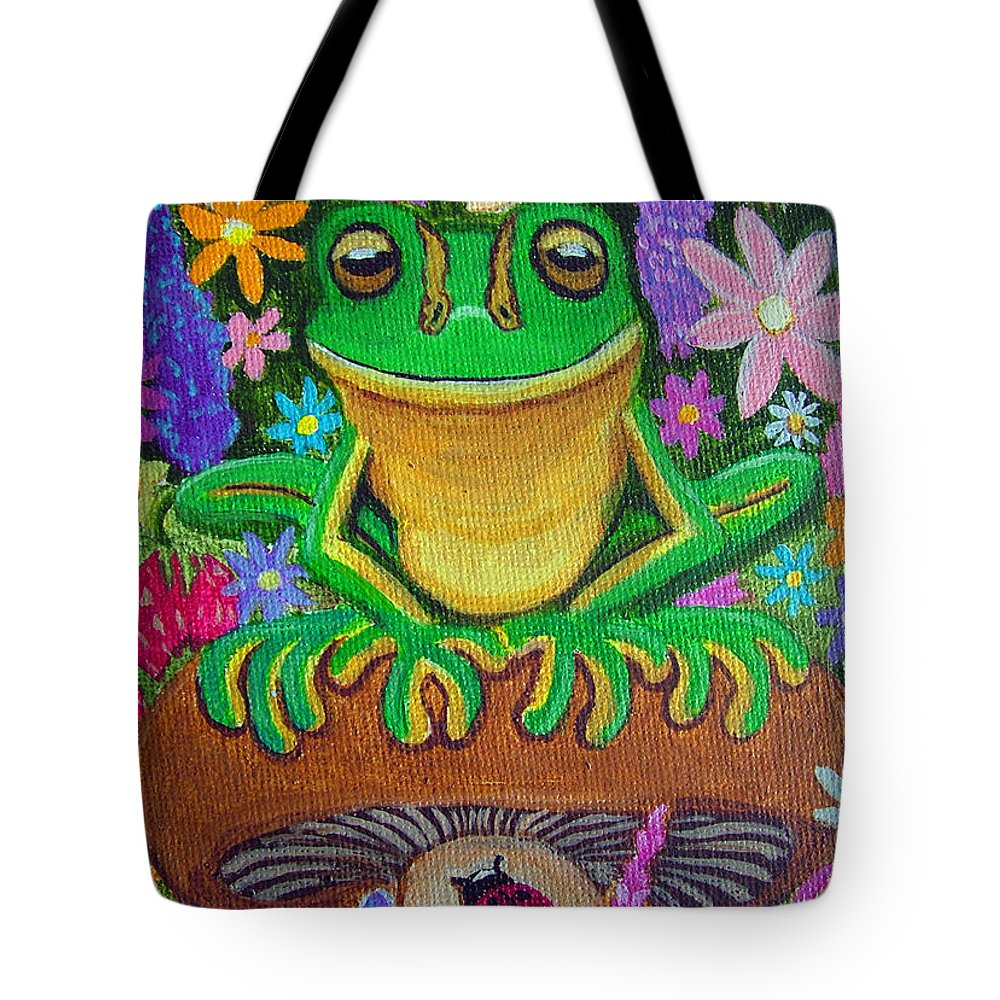 Frog Artwork Frog Painting Whimsical Artwork Green Frogs Tote Bag featuring the painting Frog On Mushroom by Nick Gustafson