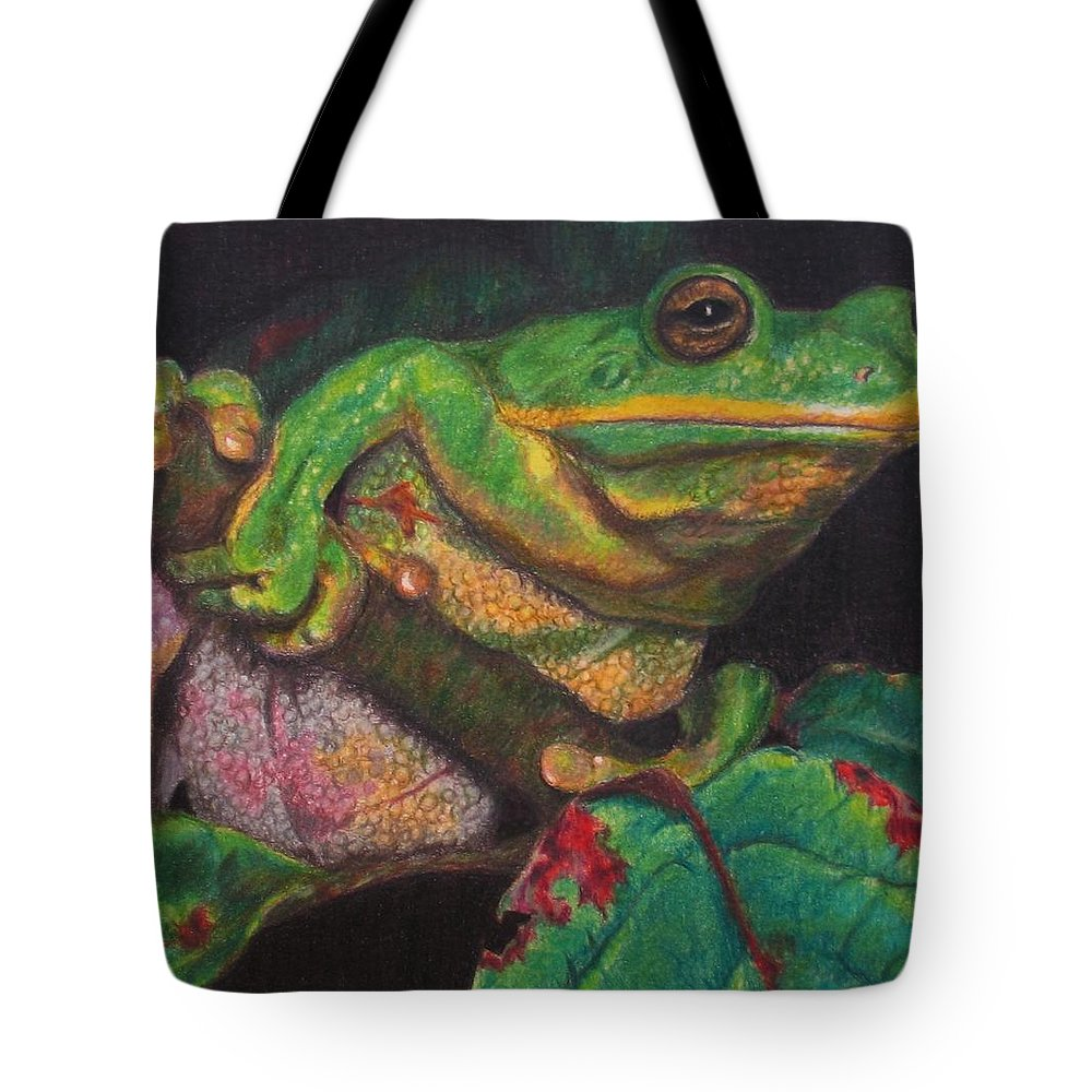 Frog Tote Bag featuring the painting Froggie by Karen Ilari