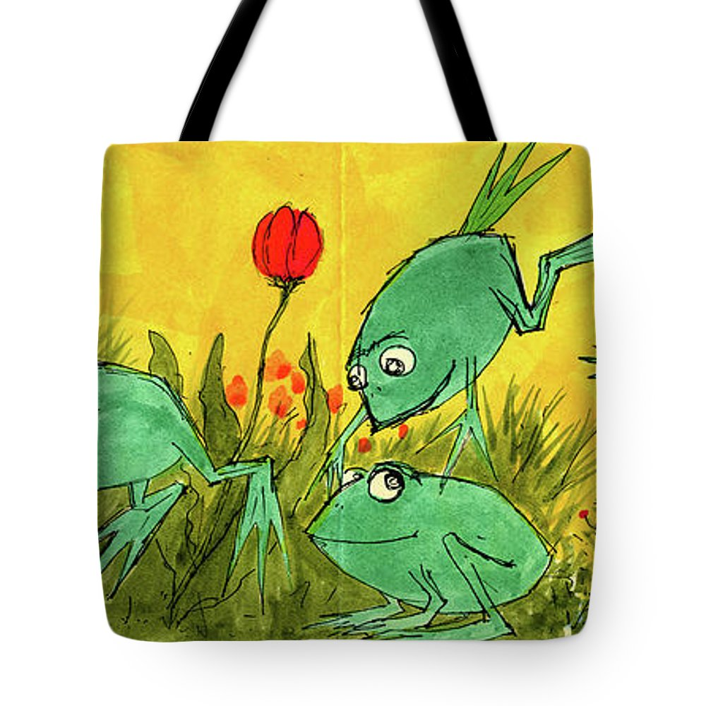 Tote Bag featuring the painting Frogs by Charles Cater
