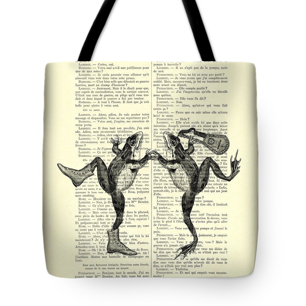 Frog Tote Bag featuring the digital art Frogs With Mandolin Music Print Vintage Animals Illustration by Madame Memento