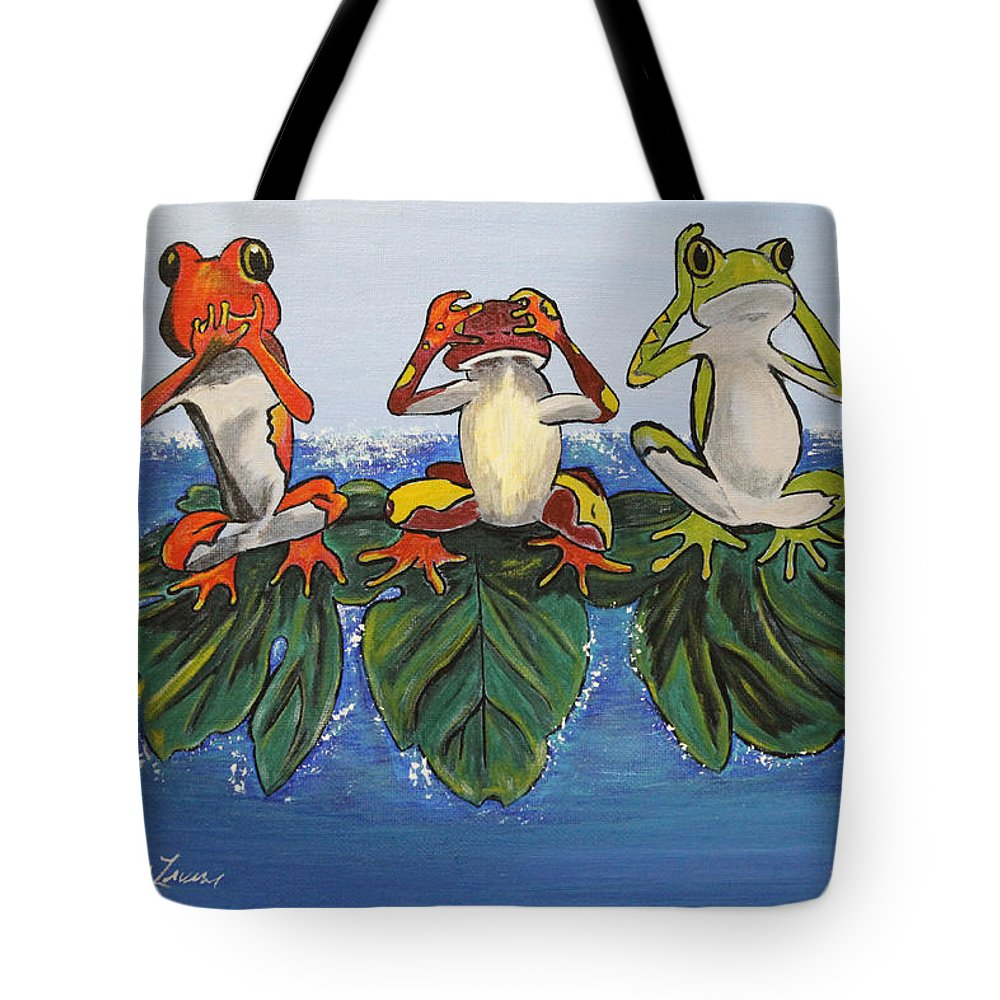 Frogs Tote Bag featuring the painting Frogs Without Sense by Debbie Levene