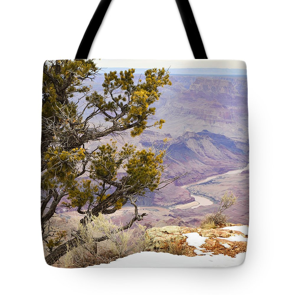 Arizona Tote Bag featuring the photograph From Desert View by Mauverneen Blevins