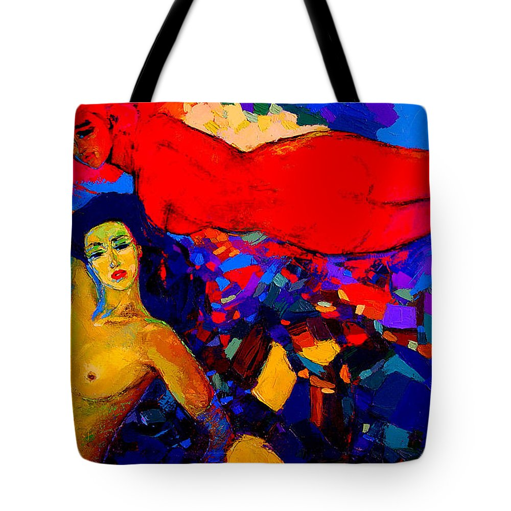 Oil Tote Bag featuring the painting From My Passion Free Me Let Me Rest by Oleh Bezyuk
