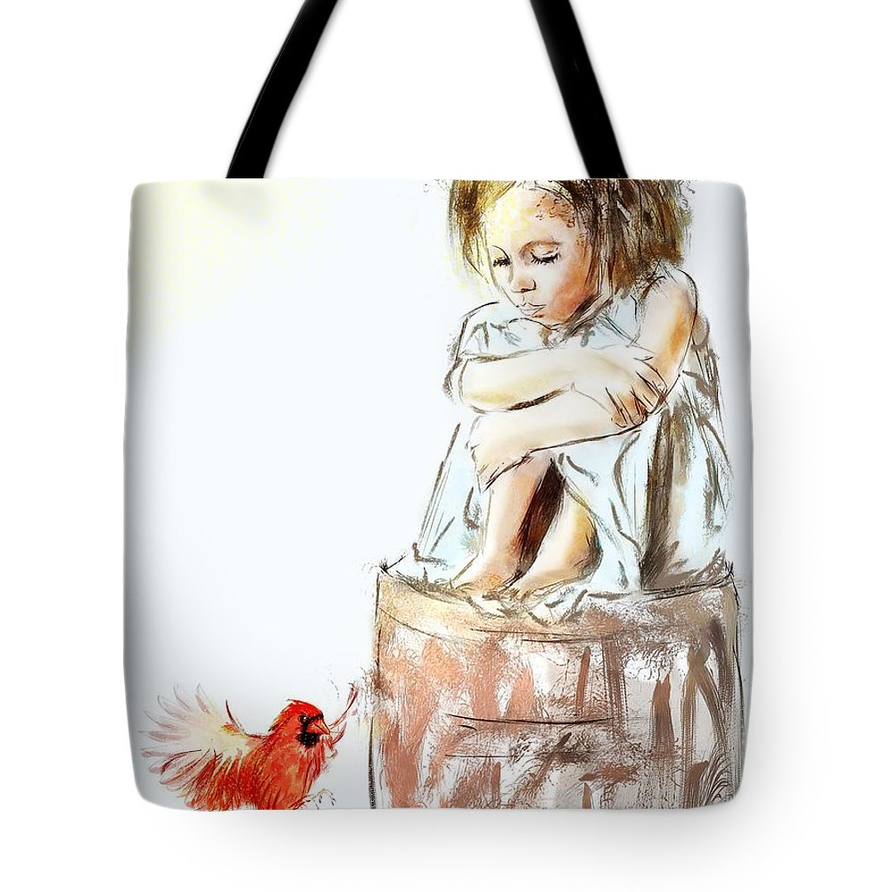 Girl Tote Bag featuring the digital art from my spirit I belong by Richard Okun