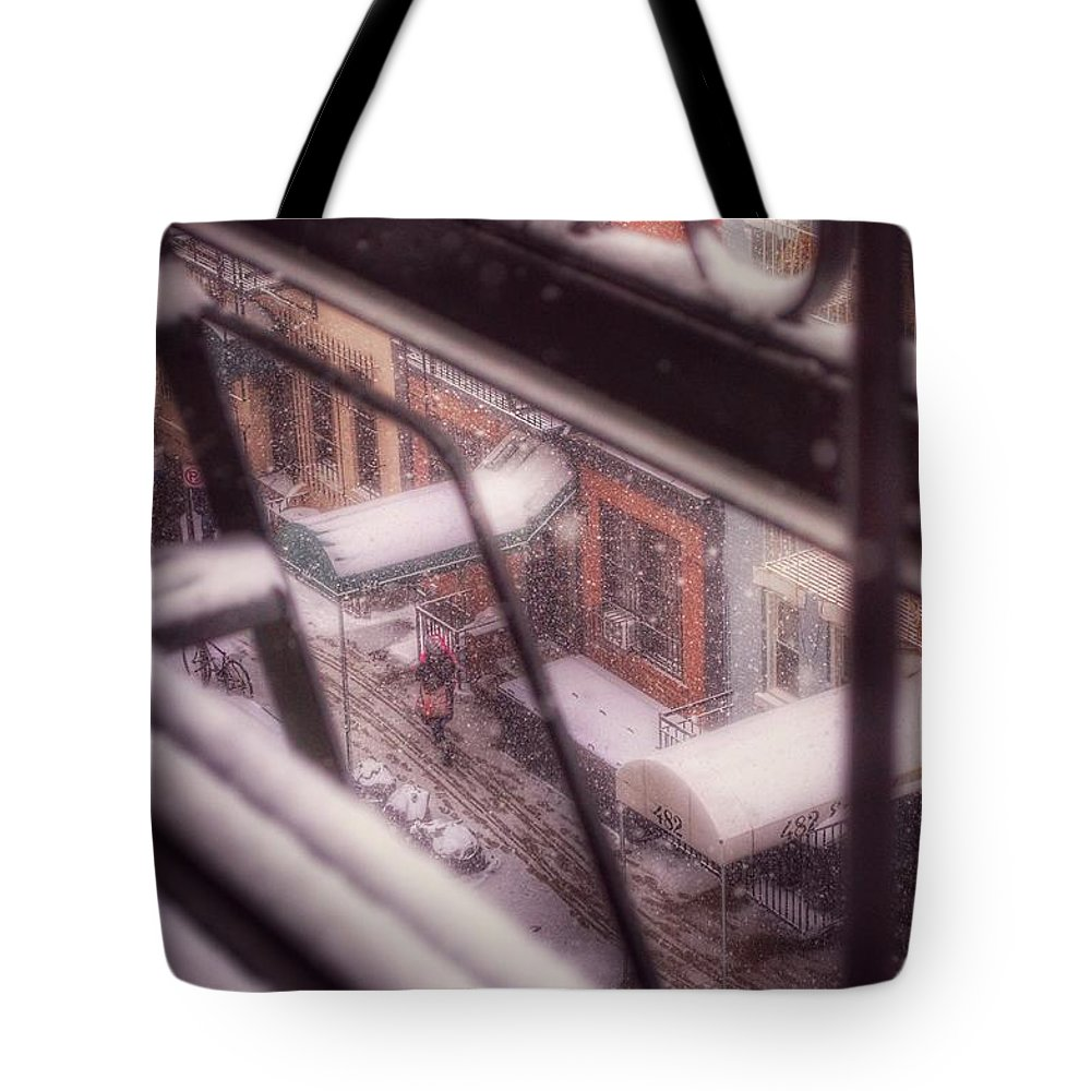 Winter In New York Tote Bag featuring the photograph From My Window - Braving The Snow by Miriam Danar
