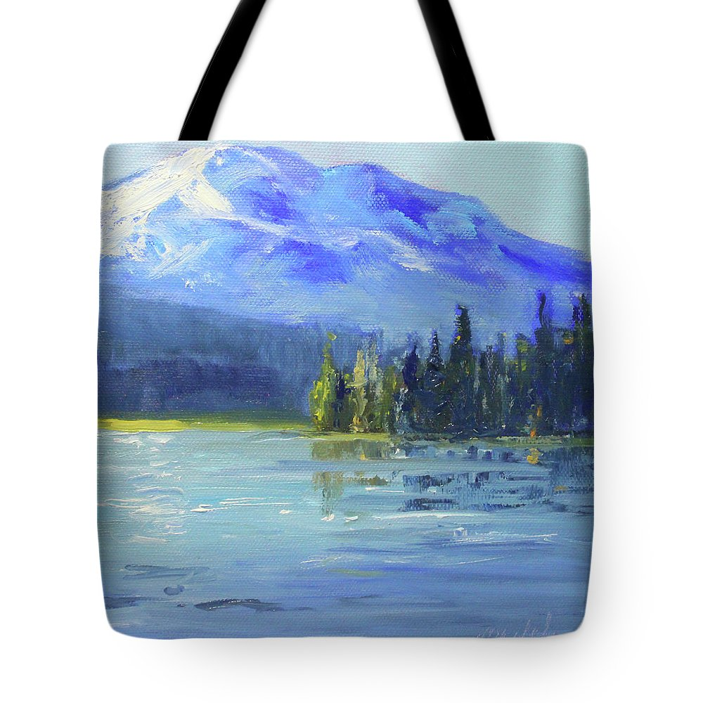 Oregon Landscape Painting Tote Bag featuring the painting From Sparks Lake by Nancy Merkle