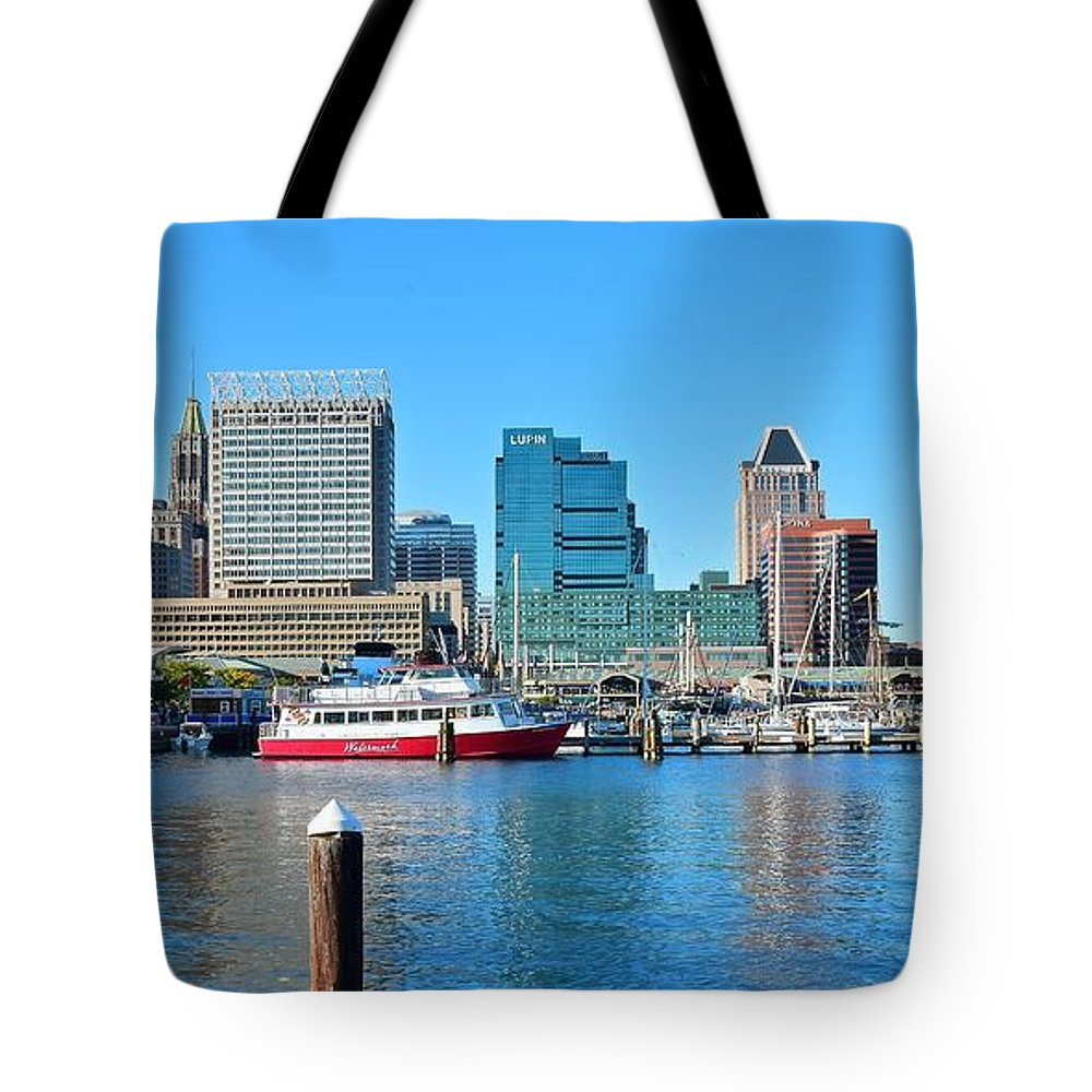 Baltimore Tote Bag featuring the photograph From The Dock by Frozen in Time Fine Art Photography