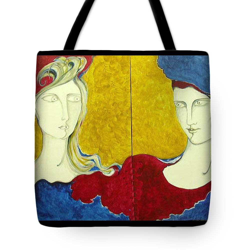 Original Art Tote Bag featuring the painting The First Sight by Rae Chichilnitsky