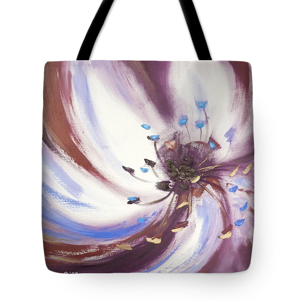 Brown Tote Bag featuring the painting From The Heart Of A Flower Brown 2 by Gina De Gorna