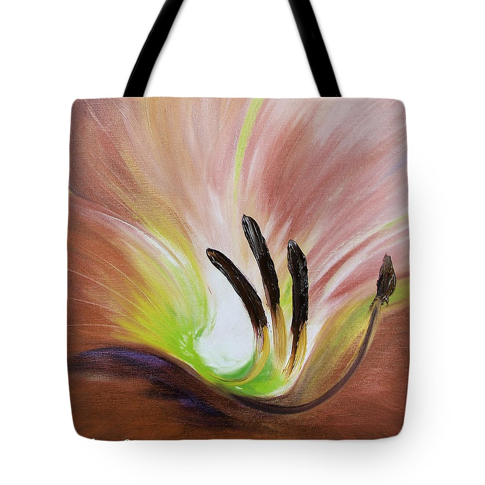 Brown Tote Bag featuring the painting From The Heart Of A Flower Brown 3 by Gina De Gorna