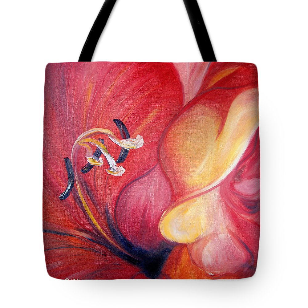 Red Tote Bag featuring the painting From The Heart Of A Flower Red by Gina De Gorna