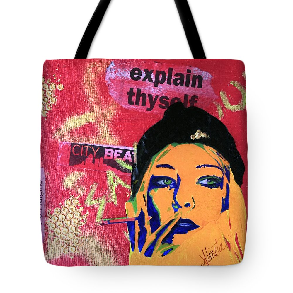 Pop Art Tote Bag featuring the painting From The Margins by Almeta LENNON