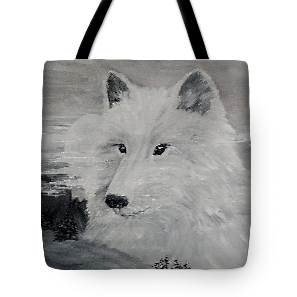 White Wolf Tote Bag featuring the painting From The Mist Of The Moon by Sandra Maddox