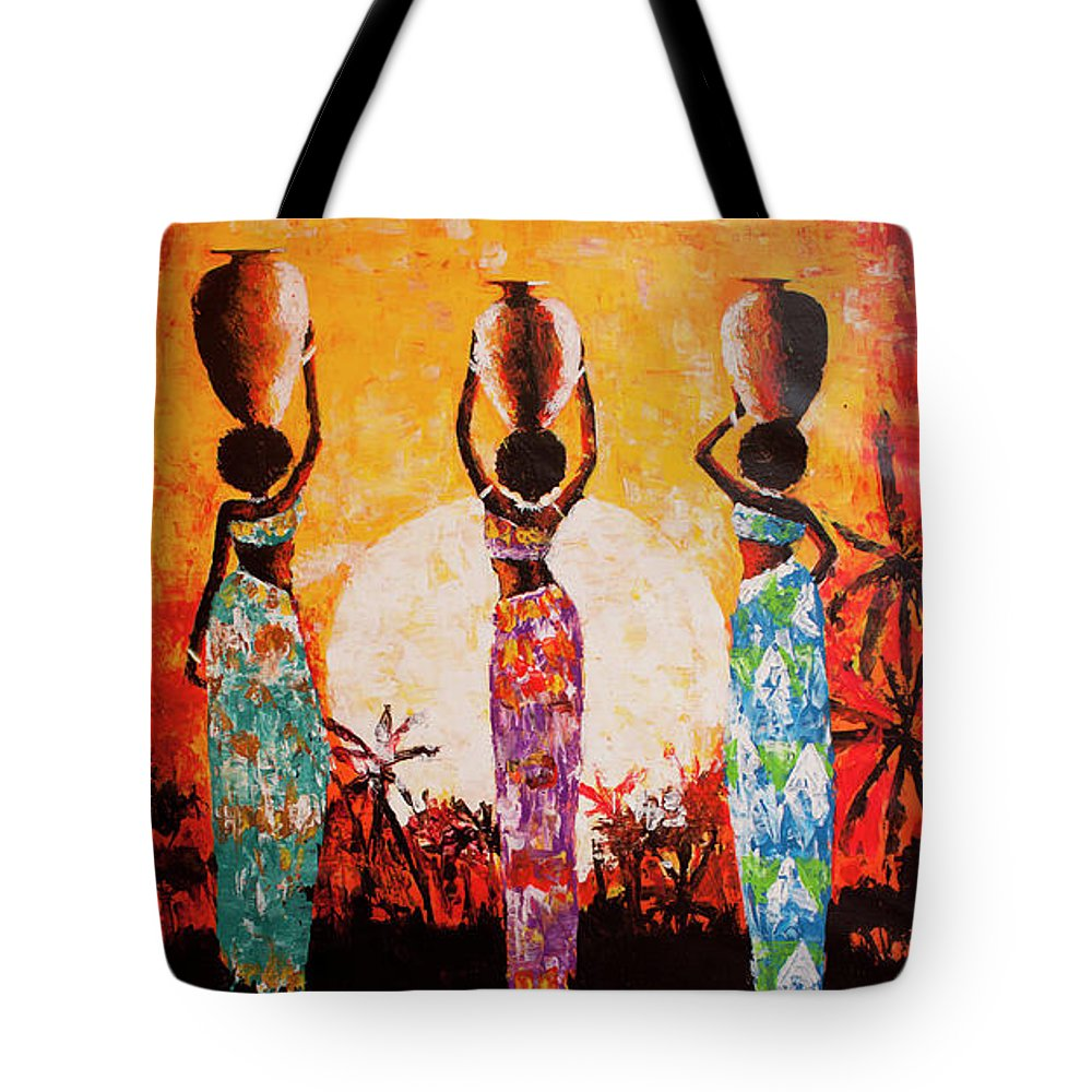 African Art Tote Bag featuring the painting From The River by Jethro Longwe