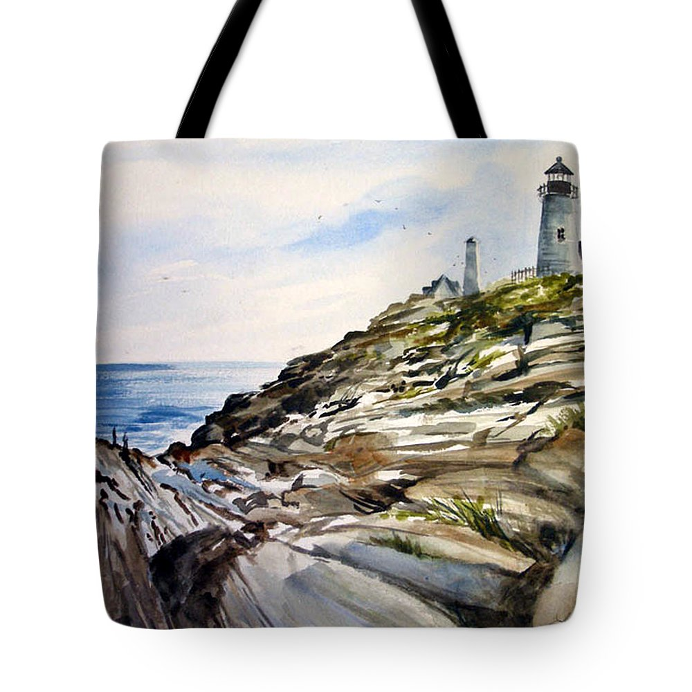 Pemaquid Light House;rocks;ocean;maine;pemaquid;light;lighthouse; Tote Bag featuring the painting From The Rocks Below by Lois Mountz