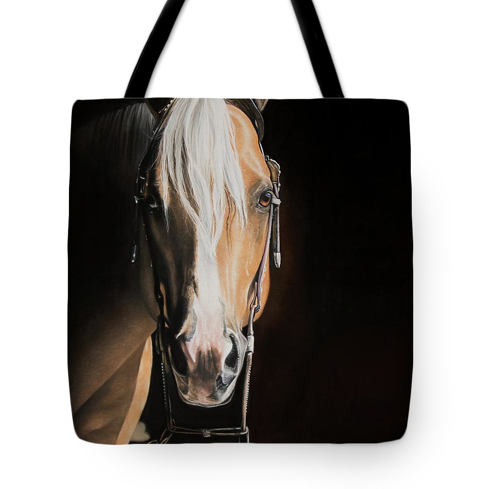 Palomino Tote Bag featuring the pastel From The Shadows by Joni Beinborn