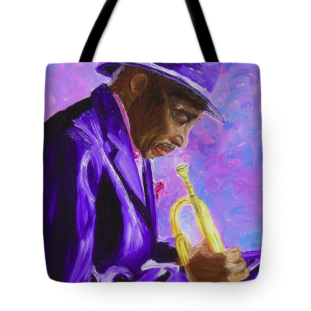 Street Musician Trumpet Player Tote Bag featuring the painting From The Soul by Michael Lee