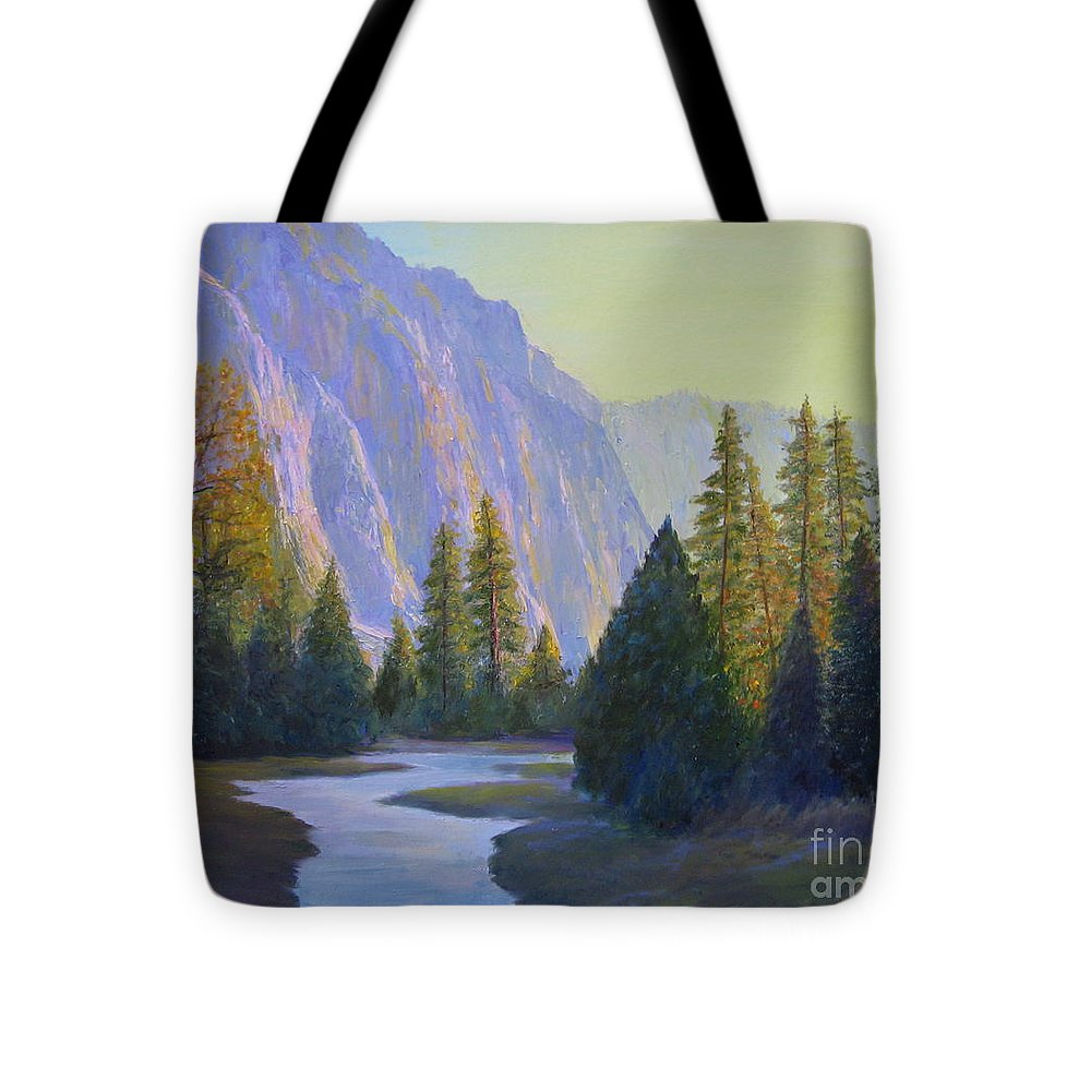 Landscape Tote Bag featuring the painting From The Trail by Jackie Carroll