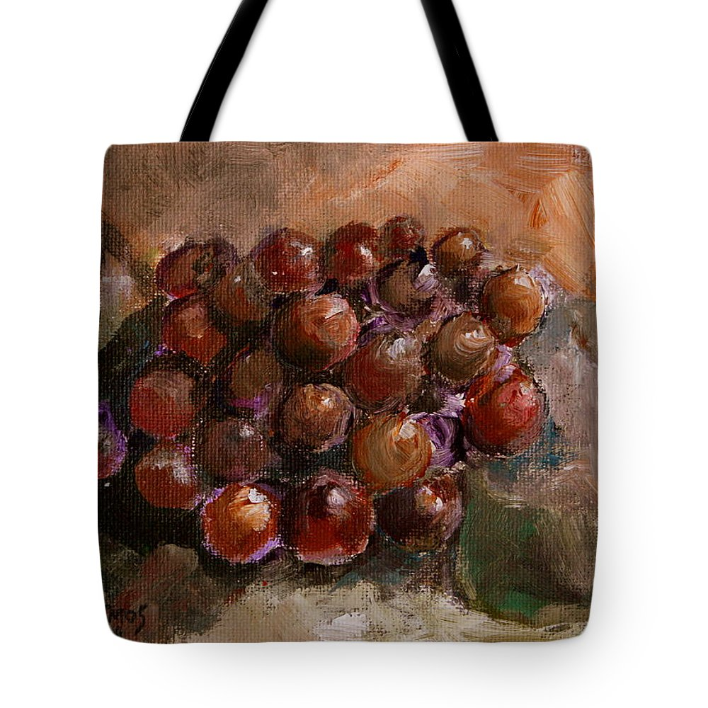 Grapes Tote Bag featuring the painting From The Vine by Jun Jamosmos