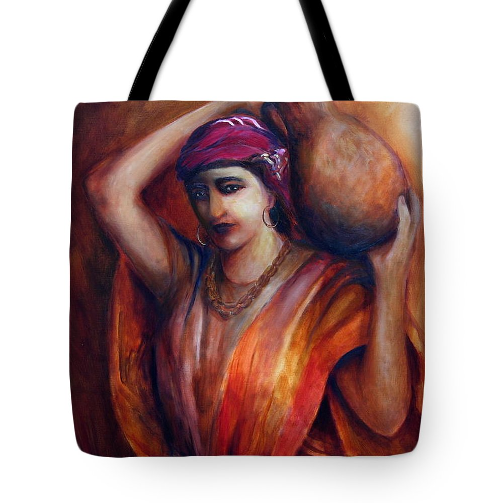 Rebekah Tote Bag featuring the painting From The Well by Jun Jamosmos
