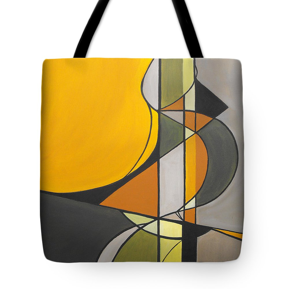 ruth Palmer Abstract Geometric Painting Acrylic Black Grey Green Orange Tote Bag featuring the painting From Time To Time by Ruth Palmer