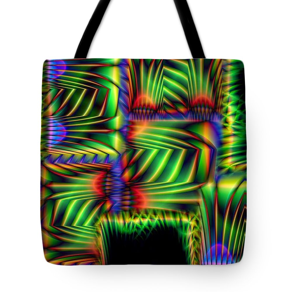 Abstract Tote Bag featuring the digital art Frond Collage by Ron Bissett