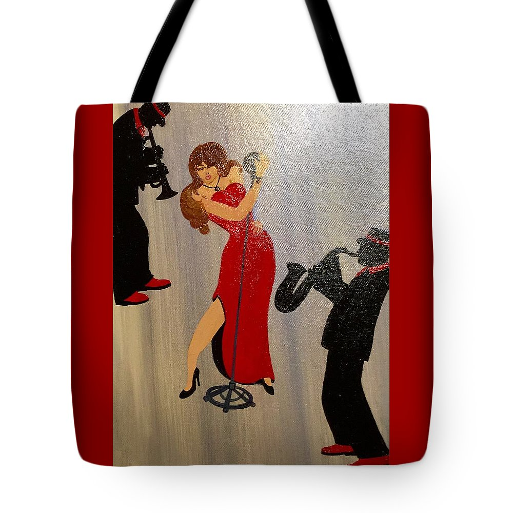 Musical Ensemble Tote Bag featuring the painting Front And Center by Gilda Thomas