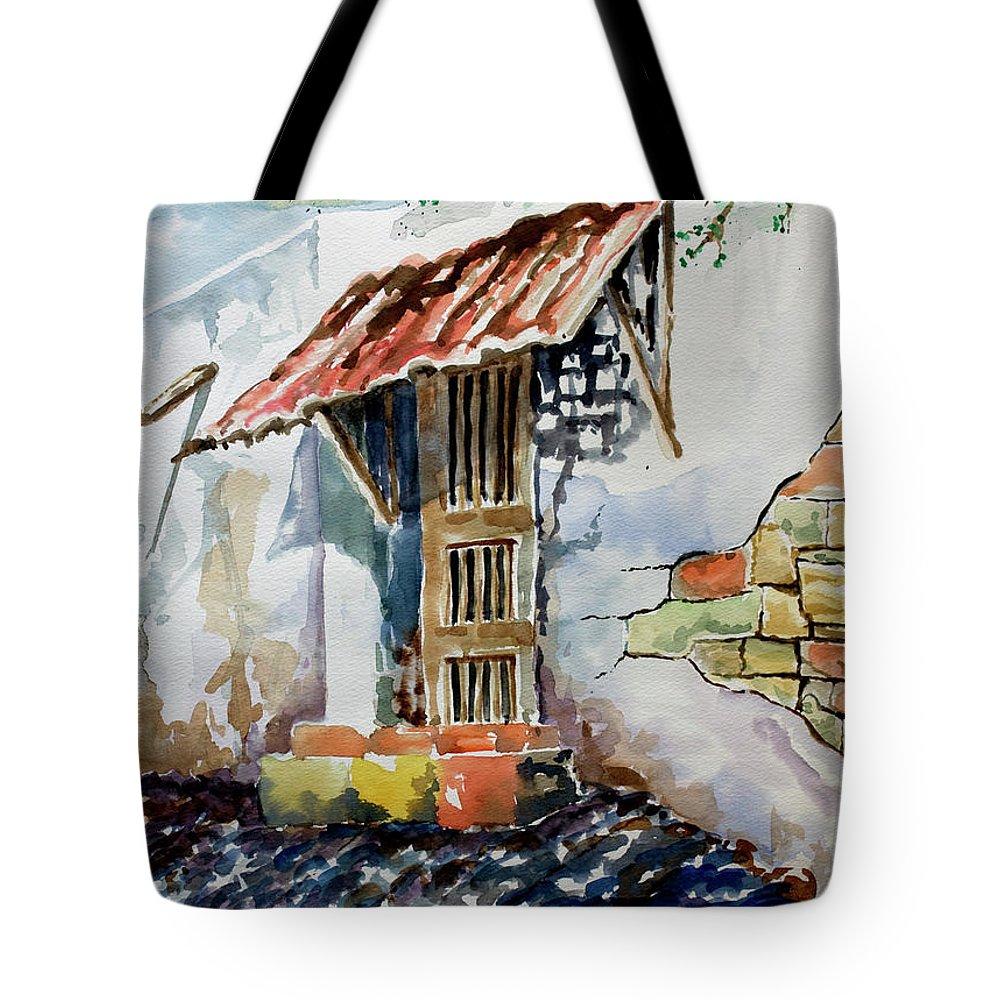 Mexican Doorway Painting Tote Bag featuring the painting Front Door by Kandyce Waltensperger