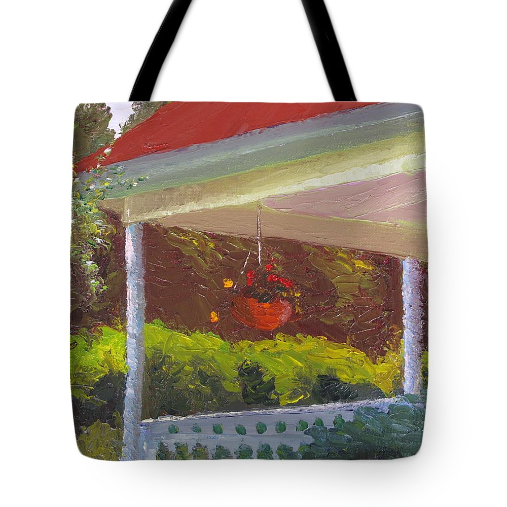 Landscape Painting Tote Bag featuring the painting Front Porch - Morning by Lea Novak