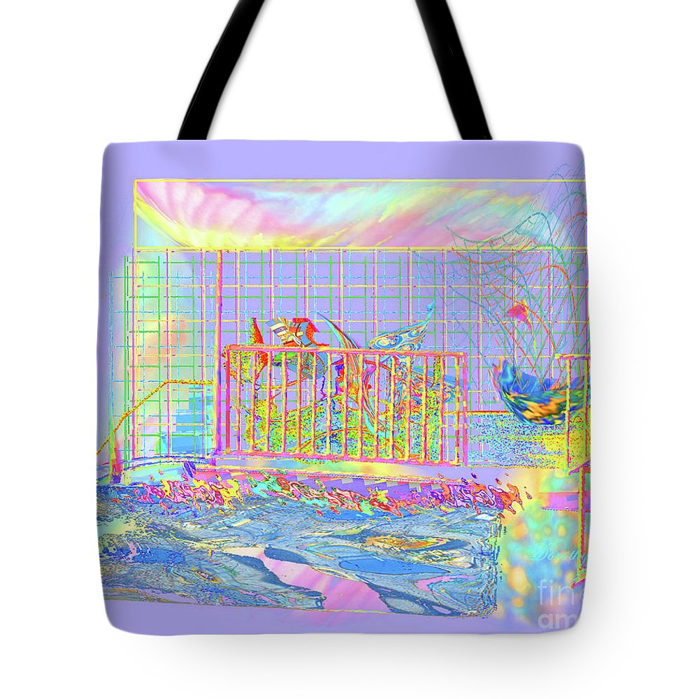 Sunrise Tote Bag featuring the digital art Front Porch At Sunrise by Dorothy Pugh