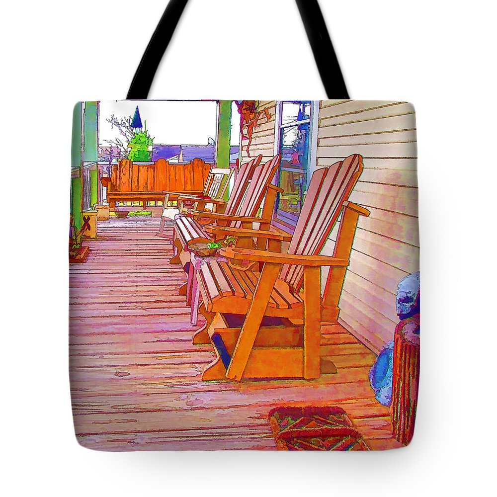 American Tote Bag featuring the painting Front Porch On An Old Country House 1 by Jeelan Clark